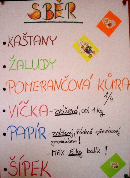 Škola Nové Město - sběr papíru, kaštanů, žaludů, šípků, pomerančové kůry a víček