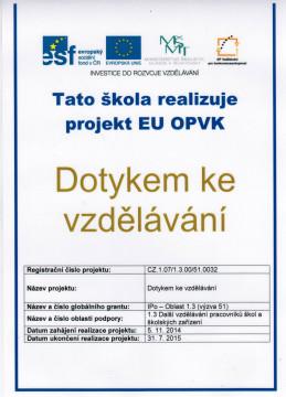 ZŠ Nové Město - dotykem ke vzdělání, projekt EU